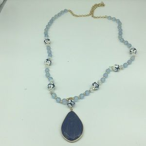Anthropologie long blue necklace, never used